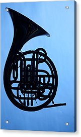 French Horn Silhouette On Blue Acrylic Print
