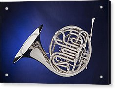 French Horn Silver Isolated On Blue Acrylic Print