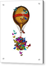 French Hot Air Balloon With Rainbow Butterflies Basket Acrylic Print