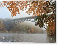 French King Bridge Autumn Fog Acrylic Print by John Burk