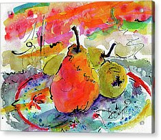 French Pears Watercolor And Ink Whimsical Art Acrylic Print
