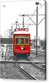 French Quarter French Market Cable Car New Orleans Color Splash Black And White With Film Grain Acrylic Print by Shawn O'Brien