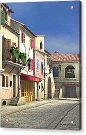 French Village Scene With Cobblestone Street Acrylic Print