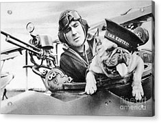 French World War Two Postcard Celebrating The British Bulldog As A Mascot For The Royal Air Force Acrylic Print