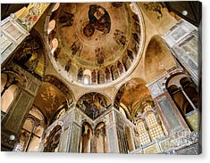 Frescoes And Mosaics Of The Church Of Holy Luke At Monastery Of Hosios Loukas In Greece Acrylic Print by Global Light Photography - Nicole Leffer