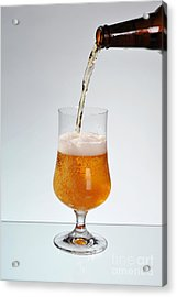 Fresh Beer Filling Glass On Stem  Acrylic Print by Arletta Cwalina
