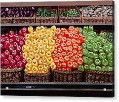 Fresh Bell Peppers At Whole Foods In New Orleans Acrylic Print by Sean Gautreaux