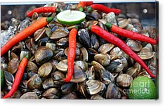 Acrylic Print featuring the photograph Fresh Clams With Chilies And Limes by Yali Shi