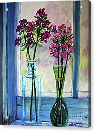 Acrylic Print featuring the painting Fresh Cut Flowers In The Window by Patricia L Davidson