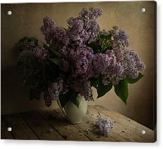 Fresh Lilac In White Pot Acrylic Print by Jaroslaw Blaminsky