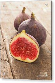 Fresh Organic Figs On Wood Acrylic Print by Andreas Berheide