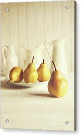 Fresh Pears On Old Wooden Table Acrylic Print by Sandra Cunningham