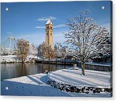 Fresh Snow In Riverfront Park - Spokane Washington Acrylic Print by Daniel Hagerman