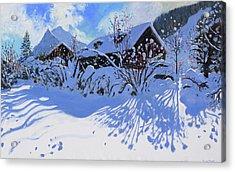 Fresh Snow, Morzine Village Acrylic Print by Andrew Macara