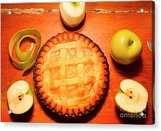 Freshly Baked Pie Surrounded By Apples On Table Acrylic Print by Jorgo Photography - Wall Art Gallery