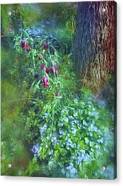 Acrylic Print featuring the photograph Fritillaria And Forget-me-nots  by Connie Handscomb