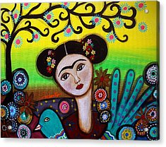 Acrylic Print featuring the painting Frida And Bird by Pristine Cartera Turkus