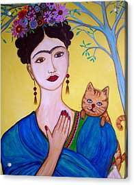 Acrylic Print featuring the painting Frida And Her Cat by Pristine Cartera Turkus