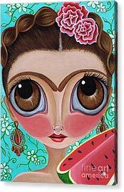 Frida And The Watermelon Acrylic Print by Jaz Higgins