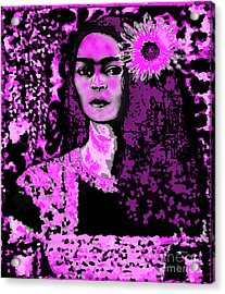 Frida In Frida Pink Acrylic Print by Fania Simon