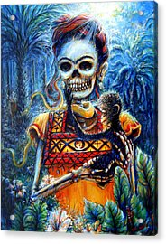 Acrylic Print featuring the painting Frida In The Moonlight Garden by Heather Calderon