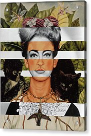 Frida Kahlo And Joan Crawford Acrylic Print by Luigi Tarini