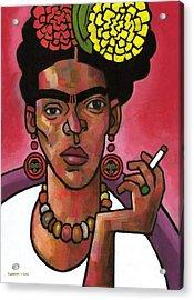 Frida Listening Acrylic Print by Douglas Simonson