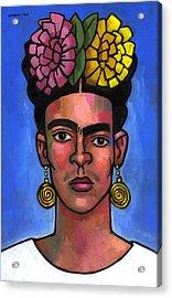 Frida On Blue Background Acrylic Print by Douglas Simonson