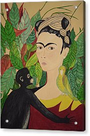 Frida With Monkey And Bird Acrylic Print by Stephanie Moore