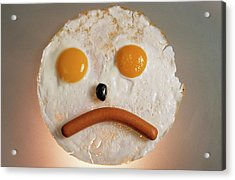 Fried Breakfast Of Eggs And Sausage Made Into A Frowning Face Acrylic Print by Sami Sarkis