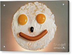 Fried Breakfast Of Eggs And Sausage Made Into A Smiling Face Acrylic Print by Sami Sarkis