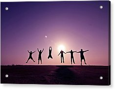 Friends Jumping Against Sunset Acrylic Print by Kazi Sudipto photography