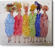 The Crazy Hat Society Acrylic Print by Marilyn Jacobson