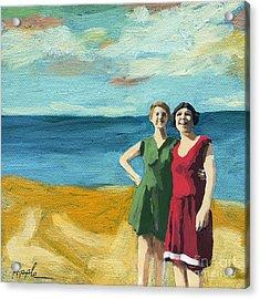 Friends On The Beach Acrylic Print by Linda Apple