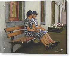 Friends Seated In Bench Acrylic Print by Leonor Thornton