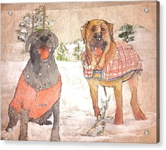Friends Together Weather Winter Acrylic Print by Debbi Saccomanno Chan