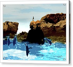 Friends With Dolphins In Colour Acrylic Print