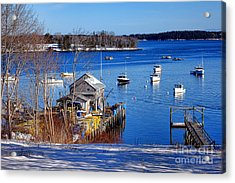 Acrylic Print featuring the photograph Friendship Harbor In Winter by Olivier Le Queinec