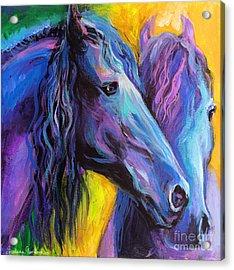 Friesian Horses Painting Acrylic Print by Svetlana Novikova