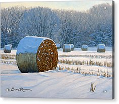 Frigid Morning Bales Acrylic Print