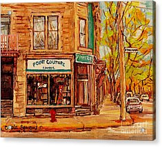 Friperie Pointe Couture Stores And Streets Of Verdun And Psc Canadian Paintings Carole Spandau Art Acrylic Print