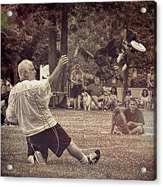 Acrylic Print featuring the photograph Frisbee Catcher by Lewis Mann