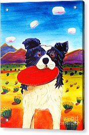 Frisbee Dog Acrylic Print by Harriet Peck Taylor