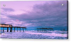 Acrylic Print featuring the photograph Frisco Fishing Pier And Clouds Panorama by Ranjay Mitra