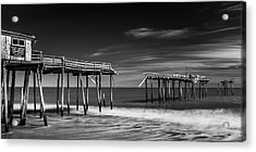 Acrylic Print featuring the photograph Frisco Fishing Pier In Black And White Panorama by Ranjay Mitra