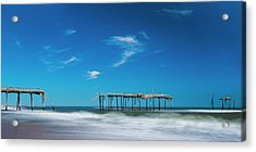 Acrylic Print featuring the photograph Frisco Fishing Pier In North Carolina Panorama by Ranjay Mitra