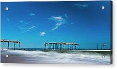Frisco Fishing Pier In North Carolina Panorama Acrylic Print