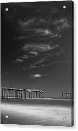 Acrylic Print featuring the photograph Frisco Pier In North Carolina And Clouds In Black And White by Ranjay Mitra