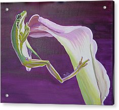 Acrylic Print featuring the painting Frog And His Flower by Phyllis Kaltenbach