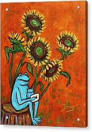 Frog I Padding Amongst Sunflowers Acrylic Print by Xueling Zou